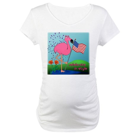 4th of July Flamingo Maternity T-Shirt