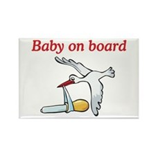 Baby on Board Stork Rectangle Magnet