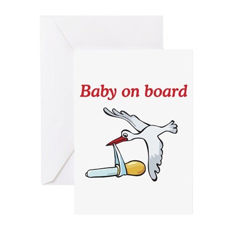 Baby on Board Stork Greeting Cards (Pk of 10)