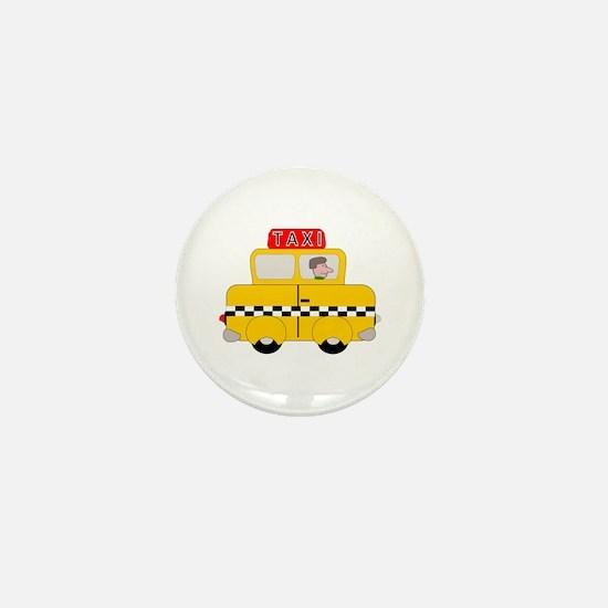 Yellow Taxi Mini Button
