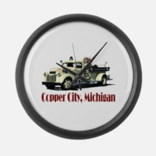 The Copper City, Michigan Large Wall Clock