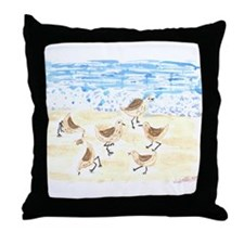 Sandpipers on Old Orchard Bea Throw Pillow
