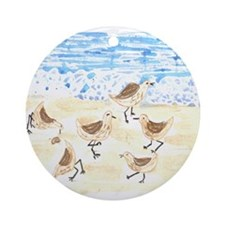Sandpipers on Old Orchard Bea Ornament (Round)