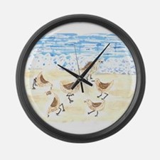 Sandpipers on Old Orchard Bea Large Wall Clock