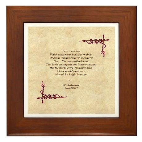 Sonnet 116 Framed Tile, Will Shakespeare