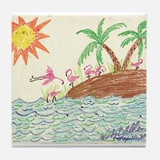 Flamingo Island Tile Coaster