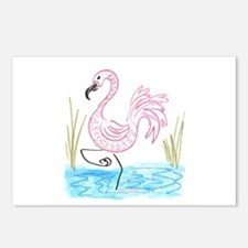 Pink Flamingo 13 Postcards (Package of 8)