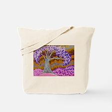 Purple Tree in Pink Fields Tote Bag