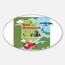 New Brunswick Map Oval Decal