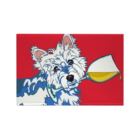 White Wine Westie Rectangle Magnet