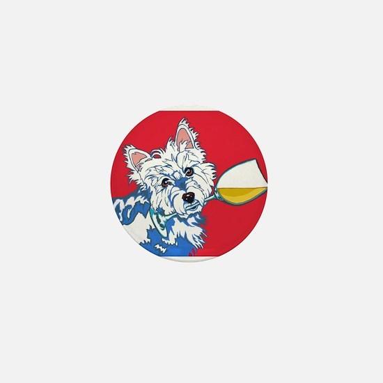 White Wine Westie Mini Button