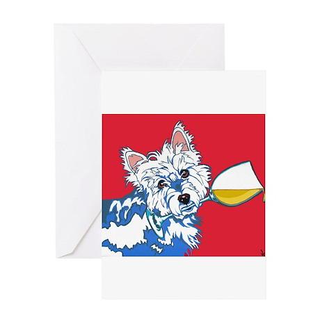 White Wine Westie Greeting Card