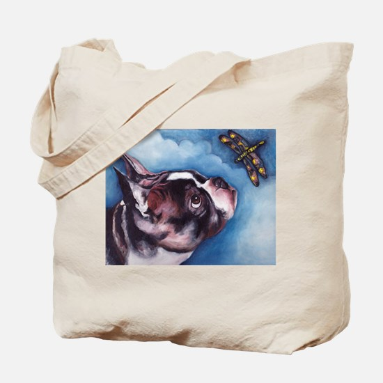 Boston Terrier and Dragonfly Tote Bag