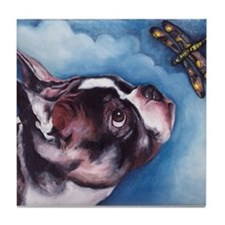 Boston Terrier and Dragonfly Tile Coaster