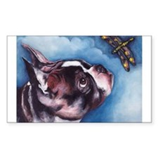 Boston Terrier and Dragonfly Rectangle Decal