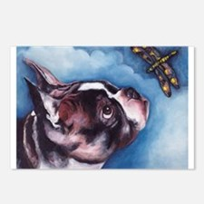 Boston Terrier and Dragonfly Postcards (Package of