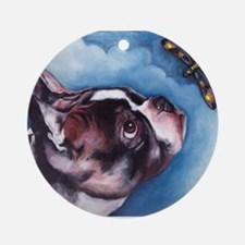 Boston Terrier and Dragonfly Ornament (Round)
