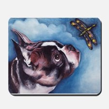 Boston Terrier and Dragonfly Mousepad