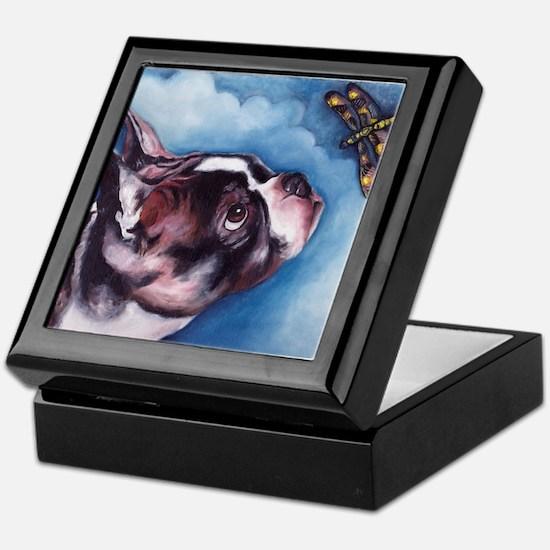 Boston Terrier and Dragonfly Keepsake Box