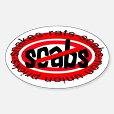 NO SCABS Oval Bumper Stickers