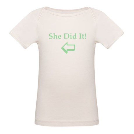 Twins:She Did It LEFT Organic Baby T-Shirt