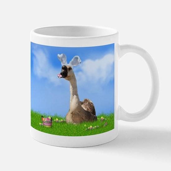 Easter Goose with Bunny Ears and Easter Basket Mug