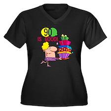 90 is Good Women's Plus Size V-Neck Dark T-Shirt