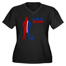 USA 2010 - Women's Plus Size V-Neck Dark T-Shirt