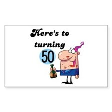 50th Birthday Rectangle Decal