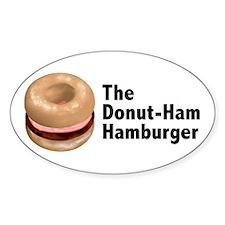 Donut Ham Hamburger Oval Sticker