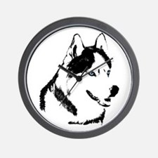 Siberian Husky Clock Sled Dog Wall Clock