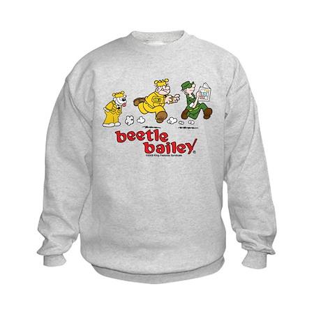Otto, Sarge, and Beetle Chase Kids Sweatshirt