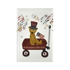 July 4th Teddy Bear Wagon Rectangle Magnet