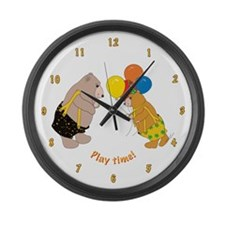 Play time teddy bears! Large Wall Clock