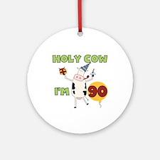 Cow 90th Birthday Ornament (Round)