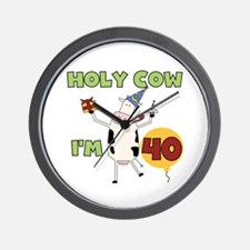 Cow 40th Birthday Wall Clock