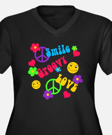 Smile Groovy Love Peace Women's Plus Size V-Neck D