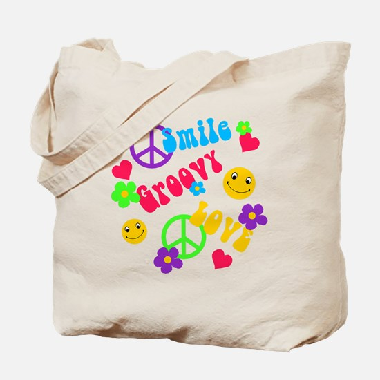 Smile Groovy Love Peace Tote Bag