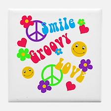 Smile Groovy Love Peace Tile Coaster