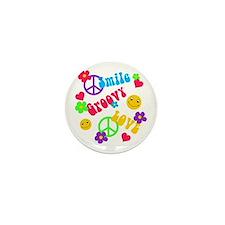 Smile Groovy Love Peace Mini Button
