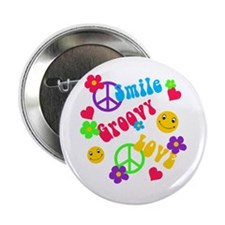 "Smile Groovy Love Peace 2.25"" Button"