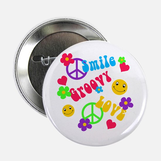 """Smile Groovy Love Peace 2.25"""" Button"""