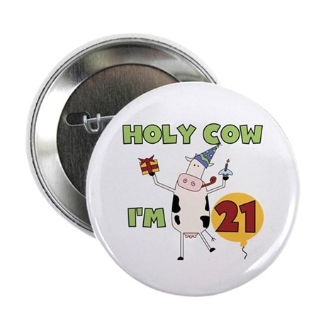 """Cow 21st Birthday 2.25"""" Button (100 pack)"""