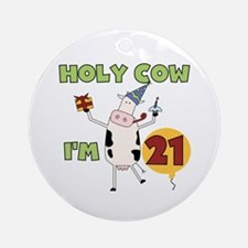 Cow 21st Birthday Ornament (Round)