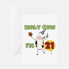 Cow 21st Birthday Greeting Cards (Pk of 10)