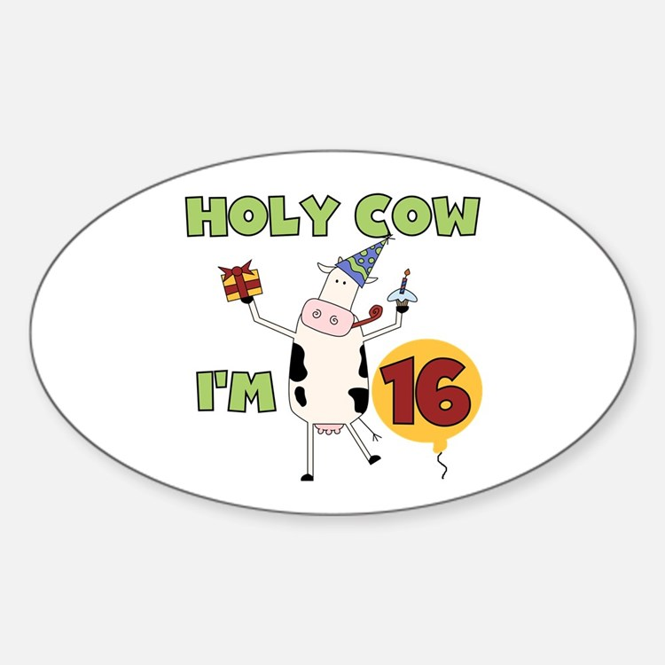 Cow 16th Birthday Oval Decal