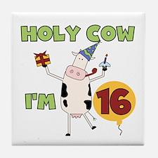 Cow 16th Birthday Tile Coaster