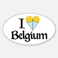 I Love Belgium (Fries) Oval Decal