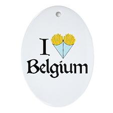 I Love Belgium (Fries) Oval Ornament