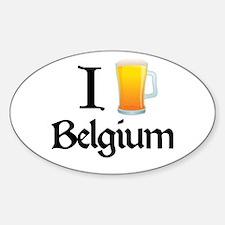 I Love Belgium (beer) Oval Decal